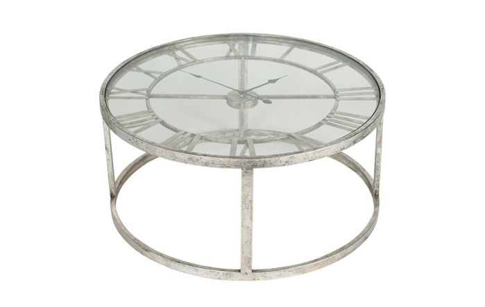 Pacific Lifestyle Antique Silver Metal Round Clock Table
