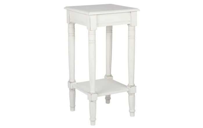 Pacific Lifestyle Elizabeth White Pine Wood Square Accent Table