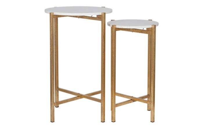 Pacific Lifestyle Antique Gold Metal & Marble S/2 Folding Tables