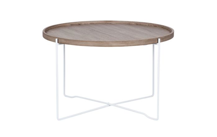 Pacific Lifestyle Natural Wood & Iron Round Coffee Table