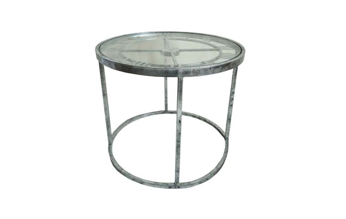 Pacific Lifestyle Antique Silver Metal Round Clock Side Table