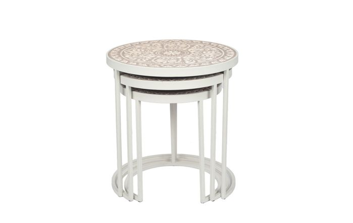 Pacific Lifestyle Antique White & Cream Wood & Iron S/3 Side Tables