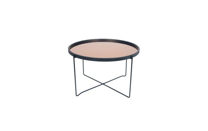Pacific Lifestyle Black & Copper Wood & Iron Round Coffee Table