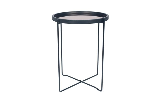 Pacific Lifestyle Black & Copper Wood & Iron Round Side Table