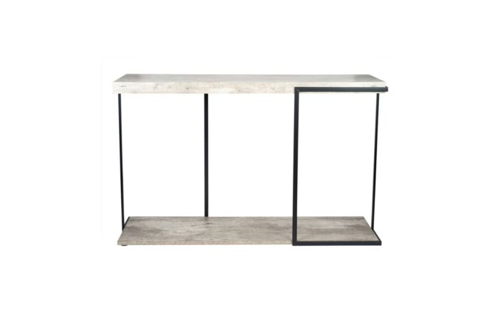 Pacific Lifestyle Concrete Effect and Black Iron Console Table