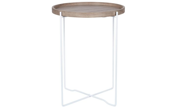 Pacific Lifestyle Natural Wood & Iron Round Side Table
