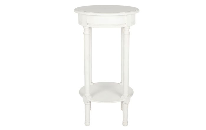 Pacific Lifestyle Elizabeth White Pine Wood Round Accent Table