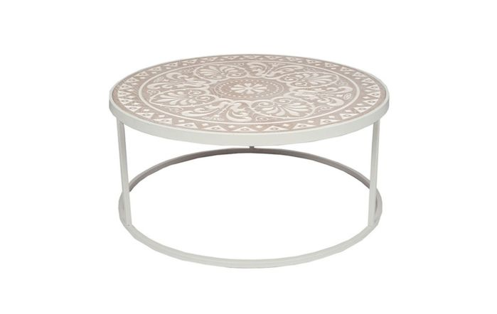 Pacific Lifestyle Antique White & Cream Wood & Iron Coffee Table