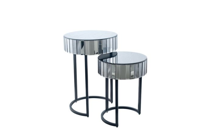 Pacific Lifestyle Smoked Grey Mirrored Glass & Metal S/2 Side Tables