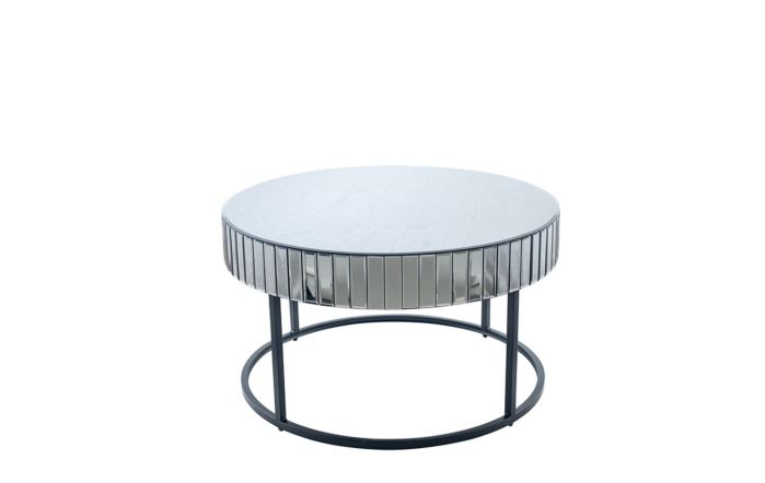 Pacific Lifestyle Smoked Grey Mirrored Glass & Metal Coffee Table