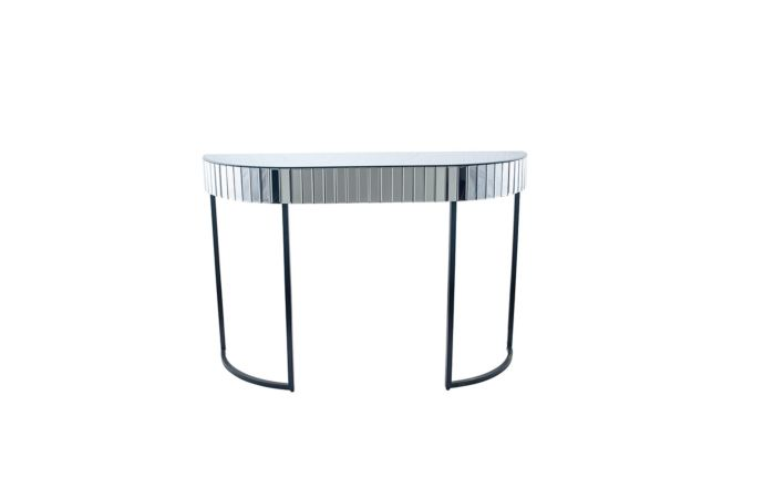 Pacific Lifestyle Smoked Grey Mirrored Glass and Metal Console Table