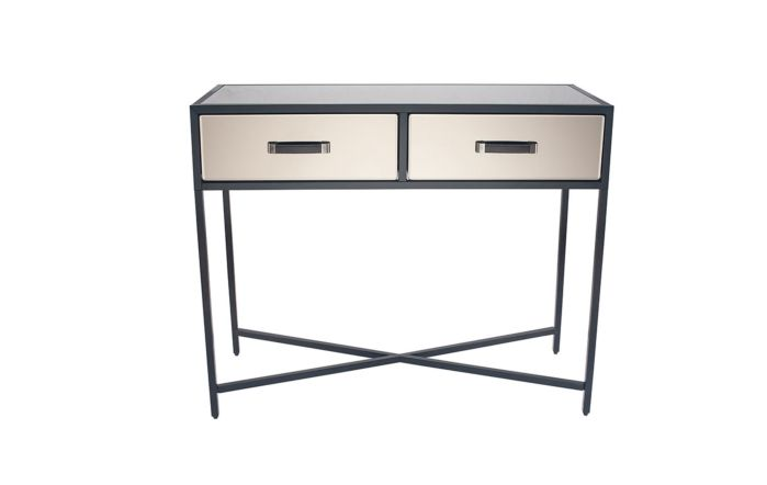 Pacific Lifestyle Bronze Mirrored Glass & Black Metal Console Table