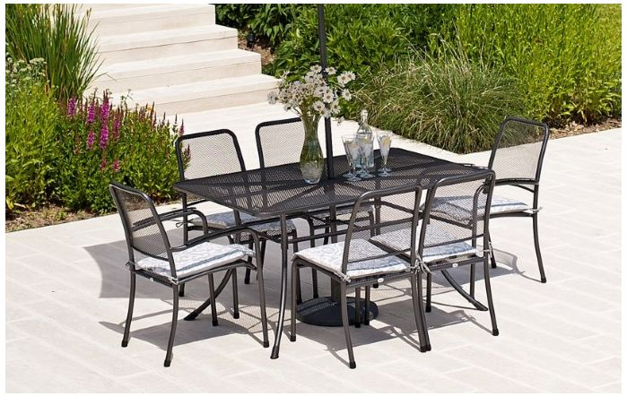 Alexander Rose Portofino Mesh 6 Seater Dining Set with cushions