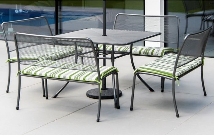 Alexander Rose Portofino Mesh Dining Table & 4 Benches with cushions