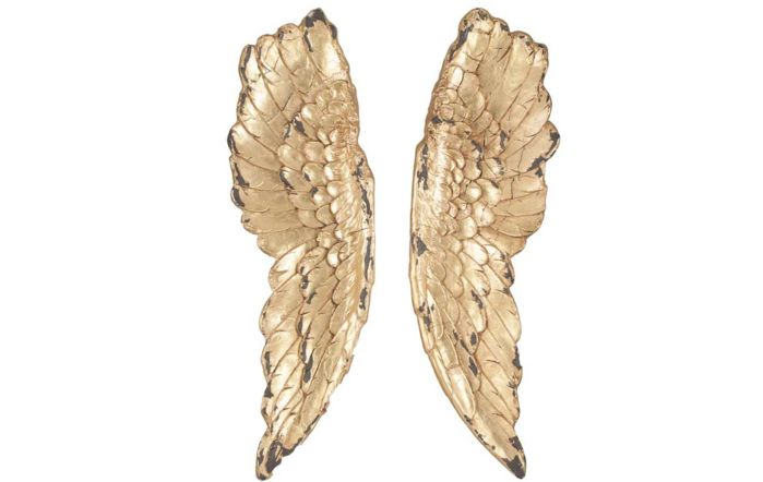 Antique Polyresin Angel Wings Wall Art-Gold