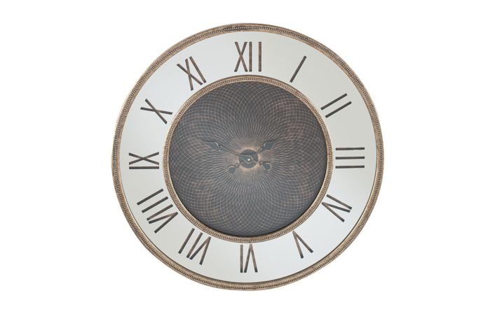 Pacific Lifestyle Antique Gold Wood & Mirror Geo Print Wall Clock