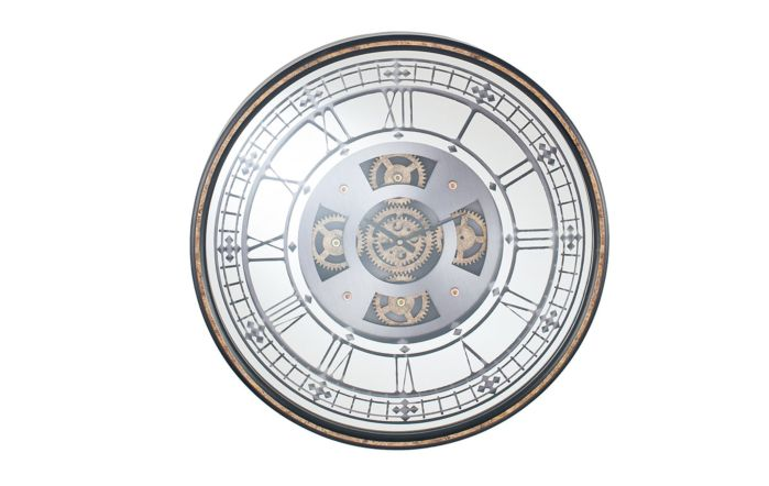 Pacific Lifestyle Antique Gold Wood & Mirror Round Working Cog Wall Clock