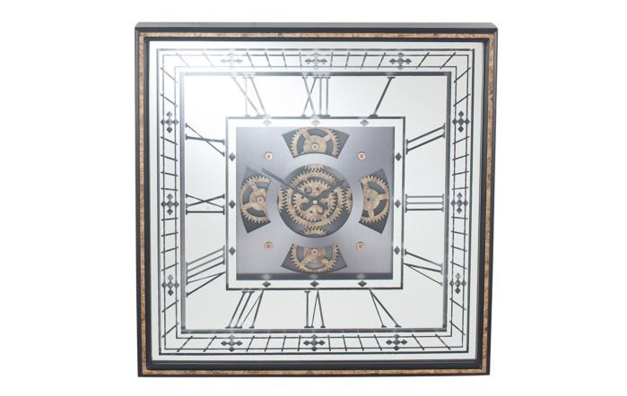 Pacific Lifestyle Antique Gold Wood & Mirror Square Working Cog Wall Clock