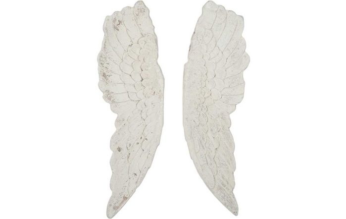 Antique Polyresin Angel Wings Wall Art-White