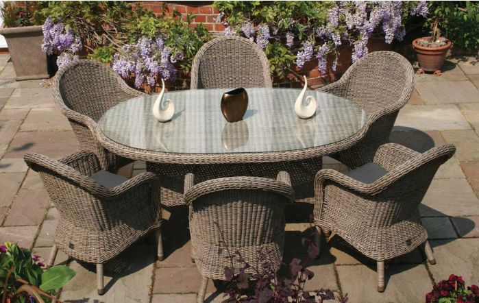 Bridgman Kensington 180cm Dining Table with 6 Dining Chairs and Beige Waterproof Cushions