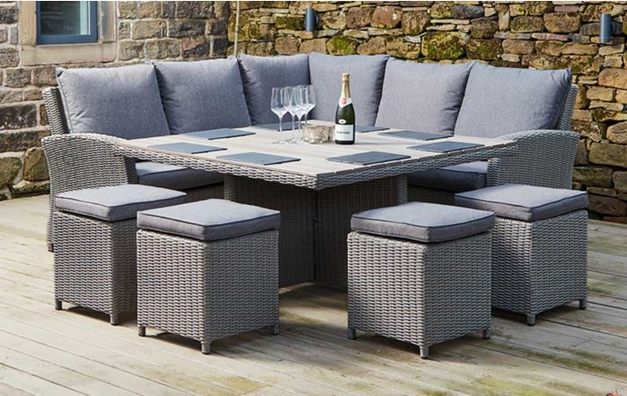 Pacific Lifestyle Barbados Square Garden Corner Casual Set with Four Stools