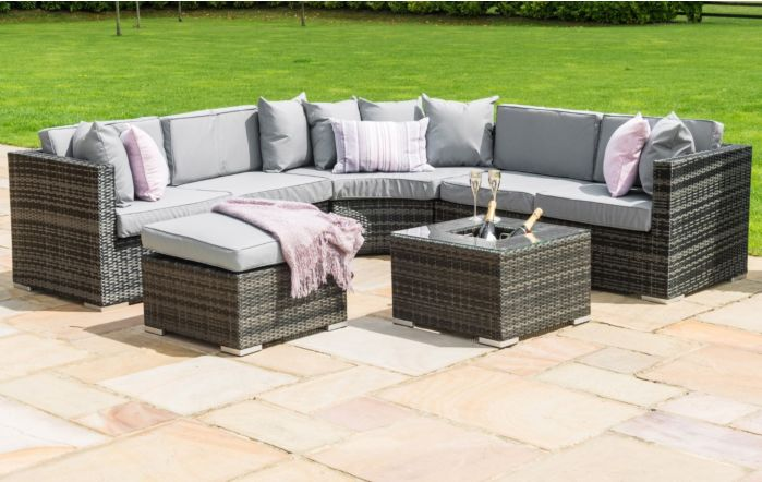 Maze Rattan Barcelona Grey Garden Corner Sofa Set wit Ice Bucket