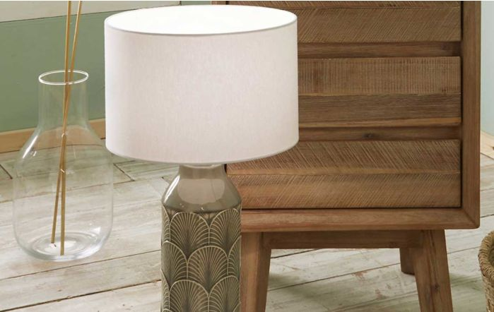 Pacific Lifestyle Bethan Embossed Grey Ceramic Table Lamp