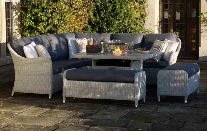 Bramblecrest Monterey Grey Casual Corner Sofa set with Ceramic Top Firepit