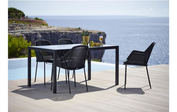 Cane-Line Breeze Four Seater Dining Set-Black