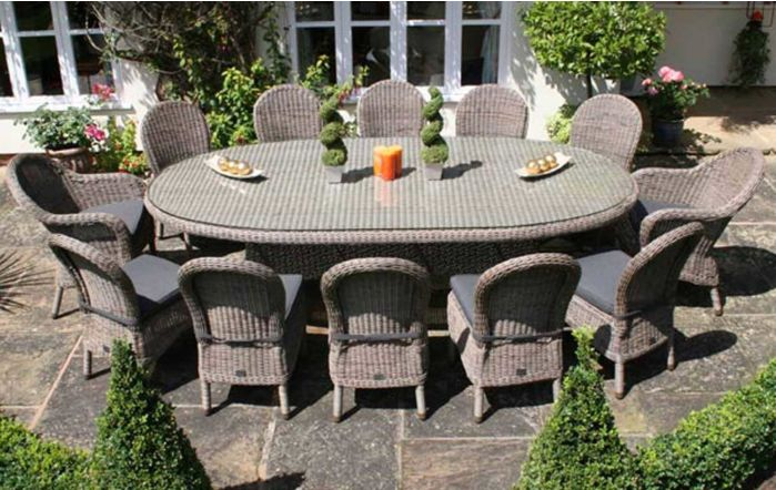 Bridgman 270cm Kensington Oval Table with 12 Dining Chairs and Grey Waterproof Cushions