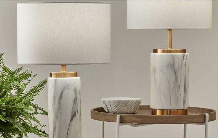 Pacific Lifestyle Carrara Marble Effect Ceramic Tall Table Lamp