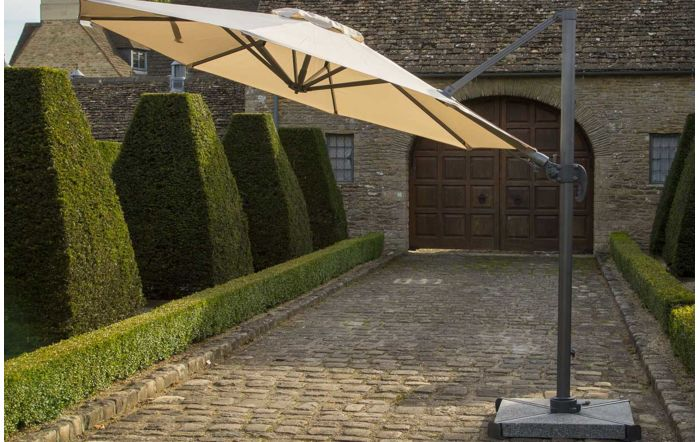 Bramblecrest Chichester 3M Round Crank Handle Parasol Including Granite Base And Cover-Sand