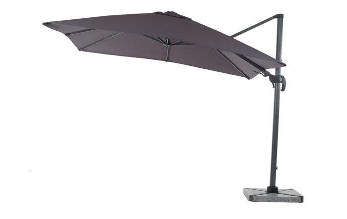 Bramblecrest Chichester 3M Square Crank Handle Parasol Including Granite Base And Cover-Grey