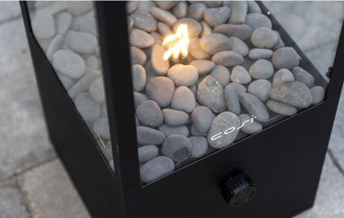 Pacific Lifestyle Cosidome Encased Black and Glass Fire Lantern