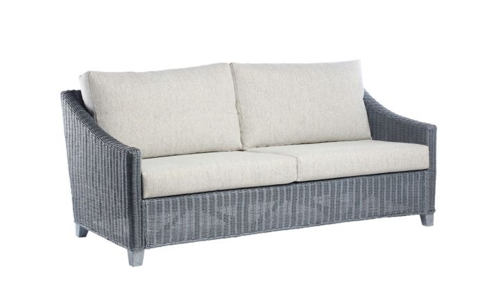 Desser Dijon Cane Rattan Three Seat Sofa - Grey