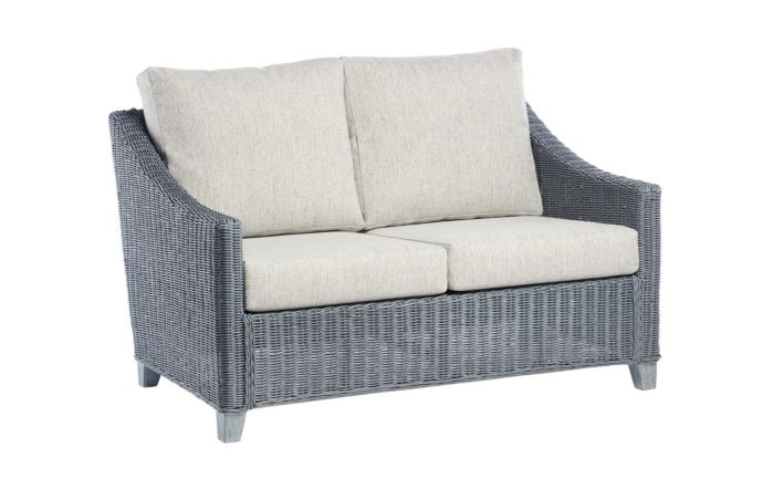 Desser Dijon Cane Rattan Two Seat Sofa - Grey