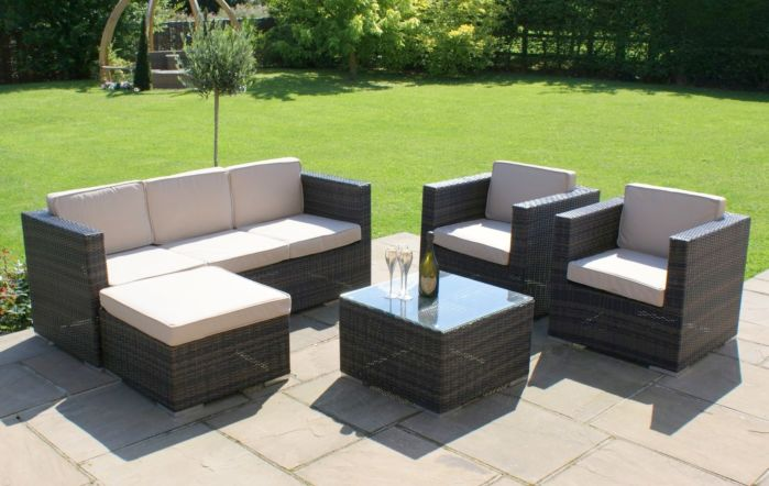 Georgia Three Seater Five Piece Rattan Garden Sofa Set by Maze Rattan