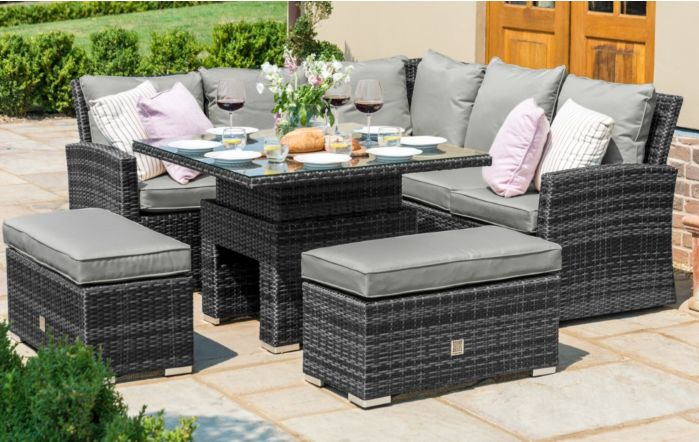 Maze Rattan Richmond Casual Corner Dining Set with Adjustable Table - Grey