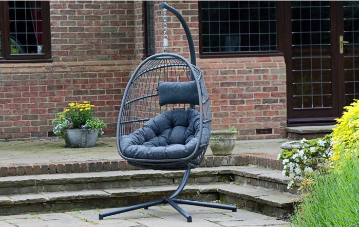 Folding Single Rope Grey Hanging Egg Cocoon Chair