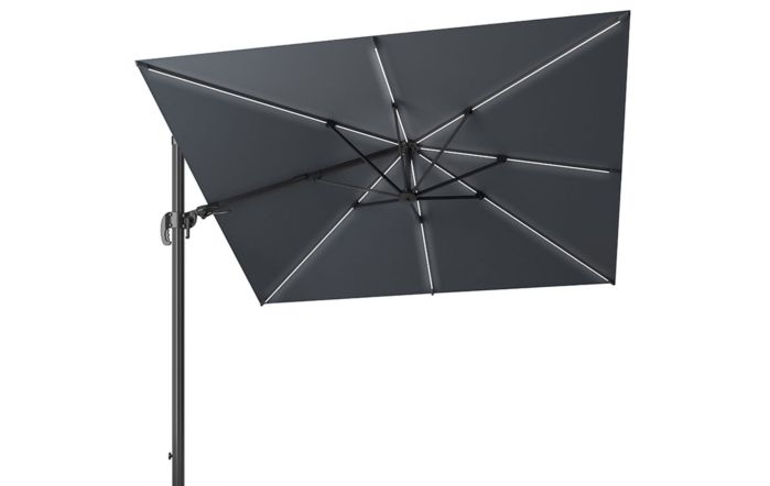 Pacific Lifestyle LED Glow Lighting side arm parasol with polished granite base-Grey