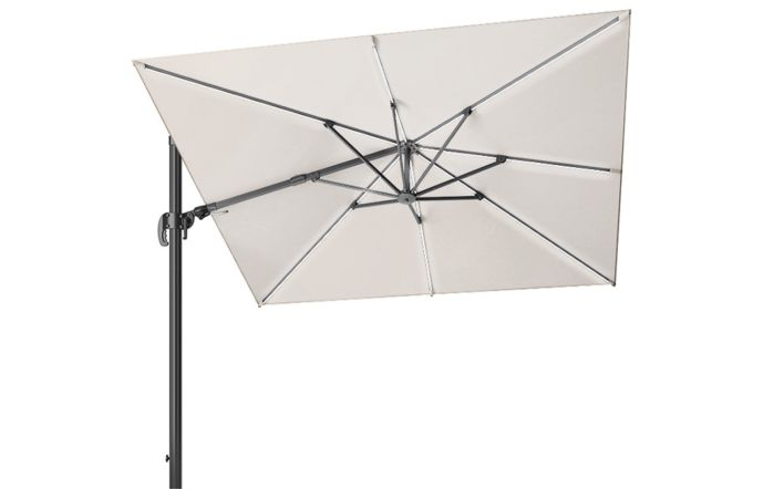Pacific Lifestyle LED Glow Lighting side arm parasol with polished granite base-Ivory