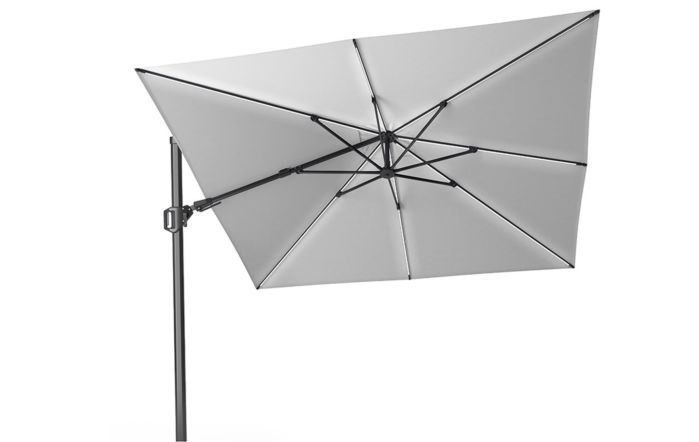 Pacific Lifestyle LED Glow Lighting side arm parasol with polished granite base-Luna Light Grey