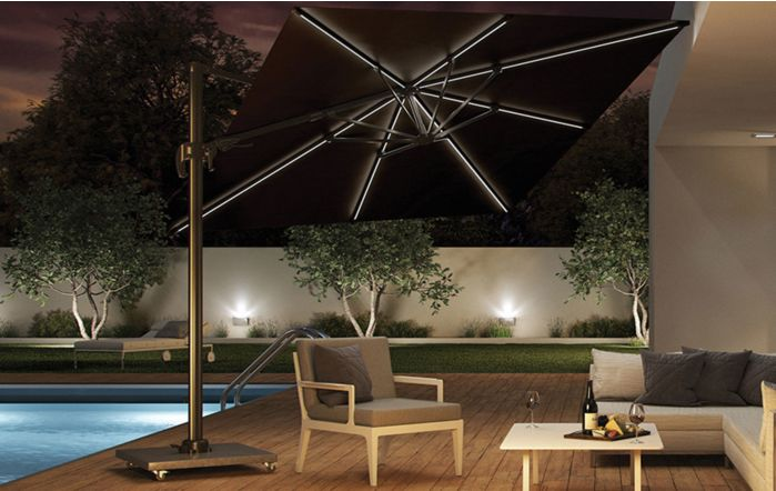 Pacific Lifestyle LED Glow Lighting side arm parasol with polished granite base