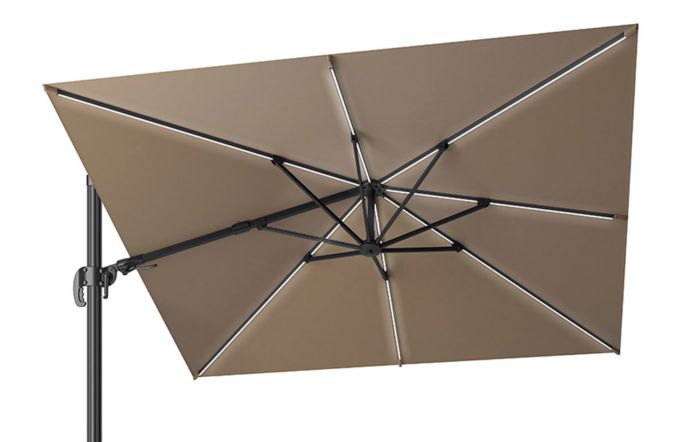 Pacific Lifestyle LED Glow Lighting side arm parasol with polished granite base-Taupe