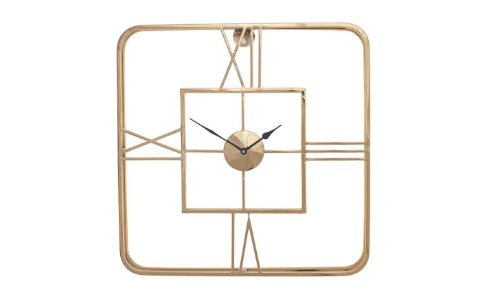 Pacific Lifestyle Gold Metal Square Wall Clock