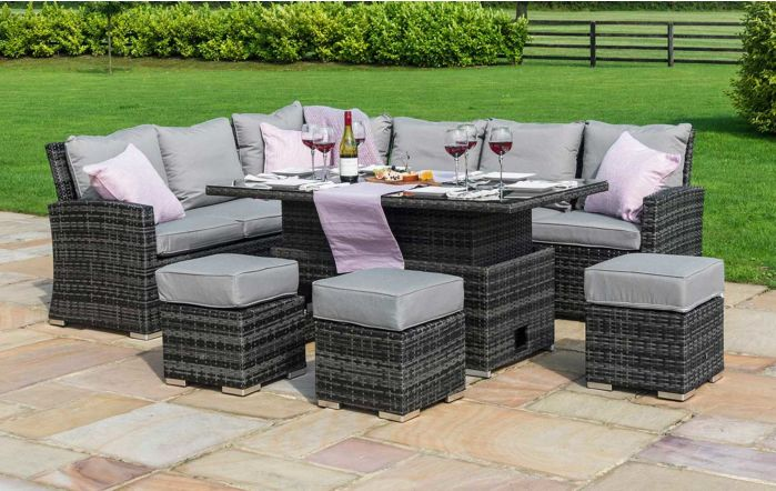 Maze Rattan Kingston Adjustable Garden Corner Casual Set-Grey