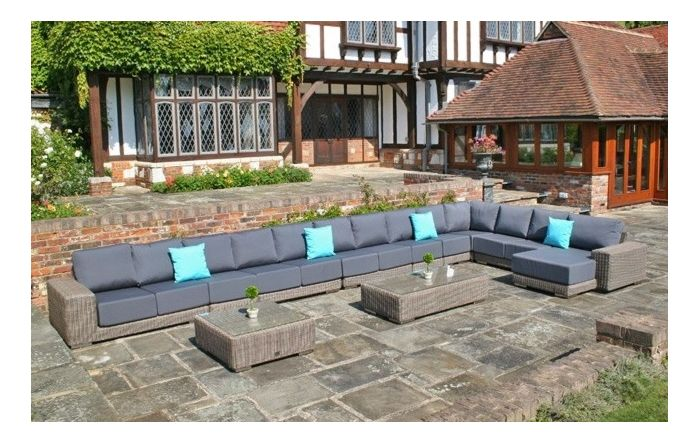 Bridgman Kensington 10 Piece Modular Corner Set With Beige Waterproof Cushions