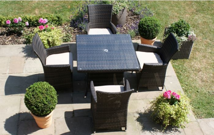 LA Square Outdoor Garden Rattan Wicker Dining Set-Brown-Small