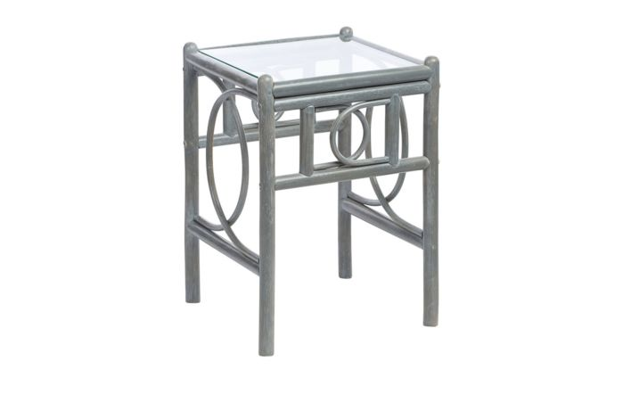 Desser Madrid Grey Cane Rattan Glass Top Side Table