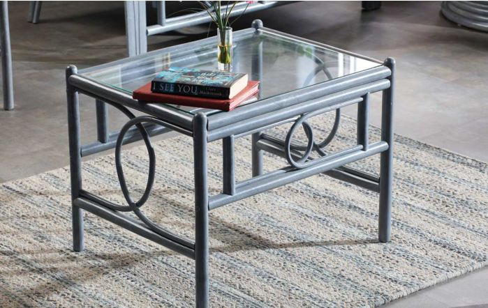 Desser Madrid Grey Cane Rattan Glass Top Coffee Table
